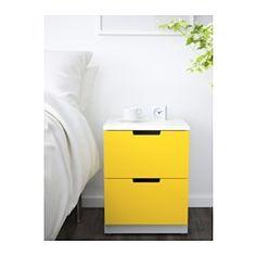 IKEA - NORDLI, 2-drawer chest, yellow/white,