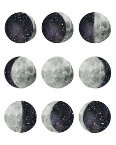"Artistically interpreted phases of the moon. Original hand painted watercolor design Comes in size 8x10""Printed with high quality inks on watercolor textured paper"