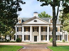 When it comes to white houses, what would you choose: brick or wood? Check out our ten favorite white houses with incredible curb appeal. Classical Architecture, School Architecture, Brick Design, Grand Homes, White Houses, French Doors, Curb Appeal, Beautiful Homes, House Beautiful