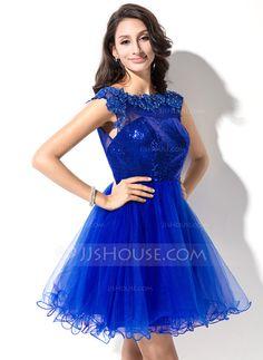 Vestidos princesa/ Formato A Decote redondo Curto/Mini Tule Lantejoulas Vestido de baile com Bordado Apliques de Renda (018046234)                                                                                                                                                                                 Mais