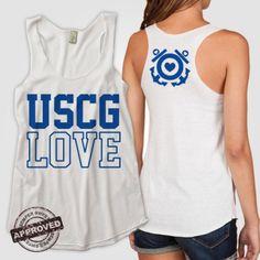 USCG Love Racerback Tank--multiple hits, like the front print