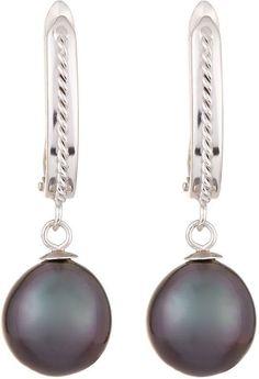 Belpearl 14k Tahitian Pearl Hoop-Drop Earrings