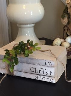 "Stack of unbound books vintage hand stamped ""in Christ alone"". Diy Old Books, Old Book Crafts, Craft Books, Upcycled Crafts, Diy And Crafts, Jute Crafts, Repurposed, Book Projects, Diy Projects"