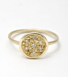 For your non-traditional gal, Lucky Seven Diamond Ring. Available at www.catbirdnyc.com.