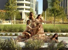 Booker T. Washington Dance group members Daniela Aguin (bottom left), Summer Fiaschetti (middle left), Rylie Walker (top left), Laurel Shore (top right), Bekah Adkins (bottom middle) and Alex Clair (bottom right) in downtown Dallas, Wednesday, October 17, 2012. (Brad Loper/The Dallas Morning News)