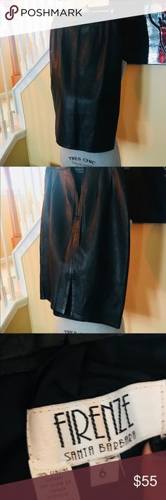 FIRENZE leather skirt SEXY BLACK LEATHER SKIRT 100% Leather firenze Skirts Pencil