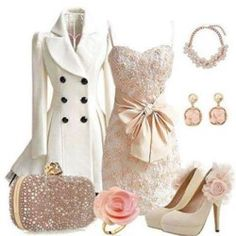 I never see any outfits like this, pretty nice coat and dress with handbag. This high heel could be matched for any party