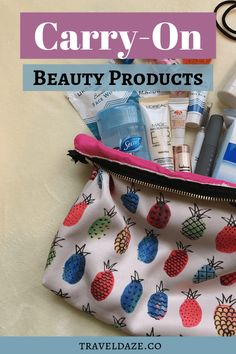 Find out what beauty, makeup, and toiletry products I keep in my personal item while flying. These are my carry-on beauty essentials while traveling. Travel Makeup Essentials, Carry On Essentials, Beauty Essentials, Travel Beauty Routine, Beauty Routines, Carry On Makeup, Makeup Kit, Beauty Makeup, Carmex Lip Balm