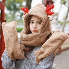 Lovely deer hat scarf with paws for women plush winter wear
