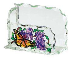 Butterfly Glass Business Card Holder
