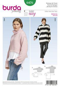Burda Burda Style Pattern Misses' Pullover Collared Top sewing pattern Pull Court, Burda Sewing Patterns, Pullover Mode, Dress Making Patterns, Couture Tops, Collar Top, Long Tops, Sewing Clothes, Pulls