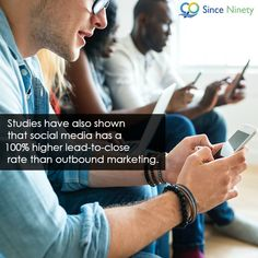 Studies have also shown that social media has a 100% higher lead-to-close rate than outbound marketing. www.sinceninety.com  #socialmedia #marketing #branding #socialmediamarketing #advertising #business #marketingdigital #digitalmarketing #agencylife #agency #startup Marketing Branding, Social Media Marketing, Digital Marketing, Competitor Analysis, The 100, Advertising, Study, Business, Amazing