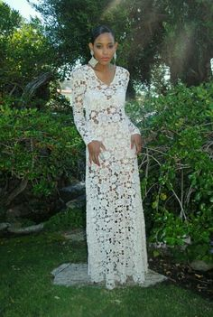 Crochet lace wedding dress-needs a long slip underneath.a.e.