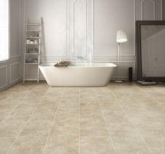 Waterdichte badkamervloer met natuursteen look - pvc van Moduleo #badkamer #badkamervloer