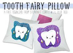 Tooth fairy pillow free printable download by Stephanie Corfee via lilblueboo.com