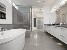 Simple Way to Tile Bathroom Floor for More Attractive Look Interior: Glossy Gray Bathroom Tiles Mixed With White Bathroom Furniture Used For. Gray Bathroom Decor, Gray And White Bathroom, Modern Bathroom Tile, Bathroom Tile Designs, Bathroom Floor Tiles, Grey Bathrooms, Simple Bathroom, Contemporary Bathrooms, Tiled Bathrooms
