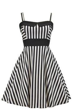 Black and White Striped Retro Swing Dress