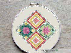 geometric cross stitch pattern bohemian square PDF by Happinesst