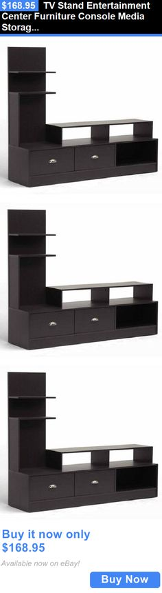 Entertainment Units TV Stands: Tv Stand Entertainment Center Furniture Console Media Storage Cabinet Home Shelf BUY IT NOW ONLY: $168.95