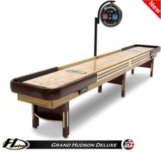 The Grand Hudson Deluxe Shuffleboard Table is the result of master craftsmanship combined with state-of-the-art electronics and topped off with a classic American look. Shuffleboard For Sale, Shuffleboard Games, Billiard Pool Table, Coffee Tables For Sale, Golden Oak, Adjustable Legs, Backyard Fences, Table Games, Ping Pong Table