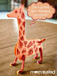 DIY Kids; Make Standing Paper Animals with Pipe Cleaners, like this Giraffe. Great Animals/ Zoo Themed Project for Kids.