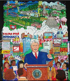William Jefferson Clinton Foundation - 3D PopArt by Charles Fazzino, public art commission.