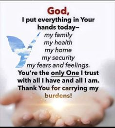The Lord will carry our burdens🙏😇 - - Morning Prayer Quotes, Happy Sunday Quotes, Good Morning Prayer, Morning Inspirational Quotes, Inspirational Prayers, Good Morning Quotes, Morning Prayer For Family, Soul Sunday, Prayer For Health
