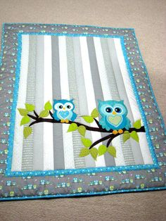 Owl Baby Quilt Whoooo Wouldnt Love To Cuddle With This Adorable Baby Quilt It Would Be A Perfect Gift For Either A Baby Boy Or A Girl Infant Or Toddler Baby Boy Quilt Kits To Make Baby Boy Bedding Set