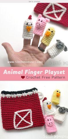 Farm Animal Finger Puppet Playset Crochet Free Pattern