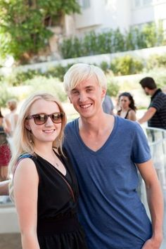 Evanna Lynch (Luna Lovegood) and Tom Felton (Draco Malfoy)! Fans D'harry Potter, Harry Potter Characters, Harry Potter Fandom, Harry Potter World, Hogwarts, Classe Harry Potter, Evanna Lynch, Luna Lovegood, Tom Felton