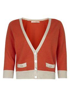 Cotton Cardigan with Contrast Trim in Vermillion & Latte