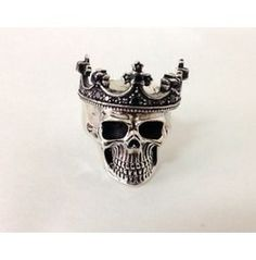Sterling Silver 925 Crown & Onyx Skull Ring