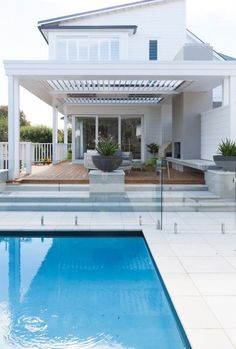 188 modern pool house decorating ideas on a budget – page 17 ~ Modern House Desi… - Outdoor Rooms Modern Pool House, Pool House Decor, Modern House Design, Outdoor Areas, Outdoor Rooms, Outdoor Living, Indoor Outdoor, Pool Paving, Pool Landscaping
