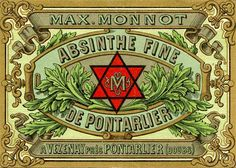 Absinthe Poster of a label with Masonic symbolism for Absinthe Monnot; original poster size 10 x Deviant Art, Vintage Labels, Vintage Posters, Vintage Packaging, Green Fairy Absinthe, Steampunk Design, Poster Prints, Art Prints, Printing Labels