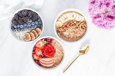 Contributor Kara Stout offers us a trio of tasty overnight oatmeal recipes that each take only five minutes to prep and make—count us in! Breakfast Smoothies, Breakfast Recipes, Overnight Oatmeal, Protein Bites, Oatmeal Recipes, Morning Food, Food Diary, Different Recipes, Love Food