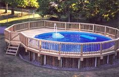 Above ground pool deck plans are needed by creative home owners who want extraordinary swimming pool on their backyard. Unlike ordinary swimming pool, Swimming Pool Decks, Above Ground Swimming Pools, My Pool, In Ground Pools, Diy In Ground Pool, Pool Spa, Above Ground Pool Landscaping, Backyard Pool Landscaping, Landscaping Ideas