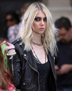 Signature makeup: The Pretty Reckless singer wore her typical smokey eye makeup for the music video shoot