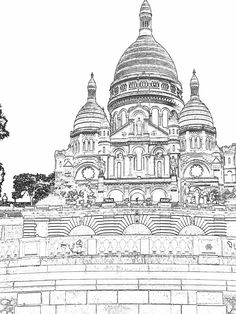 https://flic.kr/p/AzXheU | Sacra Coeur to Color | Church of Sacre Coeur: Church photo edited for coloring. Adult coloring project.