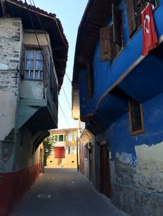 Narrow streets of Kula with old Ottoman and Greek houses, Turkey