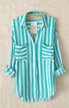 Green Stripes Two Pockets Lapel Long Sleeve Blouse