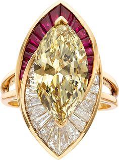 Oscar Heyman Bros. Colored Diamond, Diamond, Ruby, Gold Ring