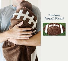Football Baby Blanket  www.SpecialBabyShowerGifts.com