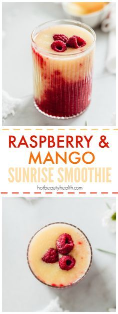 Raspberry Mango Sunrise Smoothie: this healthy drink recipe is sweet and tart and takes less than 10 minutes. Try making this for breakfast or as a post workout snack this spring and summer.