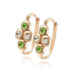 beautiful Color Rhinestone Crystal Women Hoop Earrings