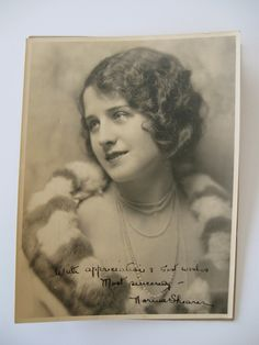 Norma Shearer very early 1920s MGM publicity photo, original, autographed with its original mailing envelope. $3,000.00, via Etsy.