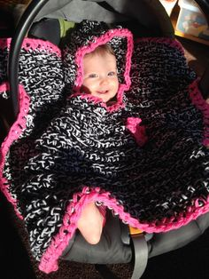 Hooded Car Seat Blanket Baby Infant Hood Poncho by semisweetcharm