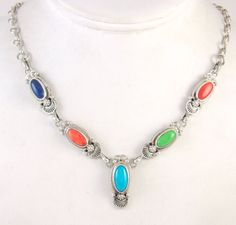 ROIE JAQUE Navajo Sterling Silver Turquoise Gaspeite Lapis Shell Necklace | J AA  | eBay