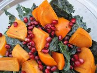 Kale, pomegranate and persimmon salad.