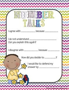 Math Workshop: Number Talks Poster Great prompts for students to use. Excited to incorporate Number Talks this year! Math Classroom, Kindergarten Math, Teaching Math, Teaching Ideas, Fourth Grade Math, Second Grade Math, Number Talks, Math Talk, Math Strategies