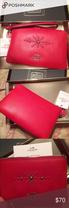 NEW Coach red wristlet NEW Red coach wristlet Coach Bags Clutches & Wristlets